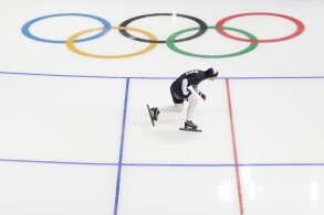 United States' Carlijn Schoutens skates during a Speed Skating training session prior to the 2018 Winter Olympics in Gangneung, South KoreaPyeongchang Olympics Speed Skating Women, Gangneung, South Korea - 05 Feb 2018