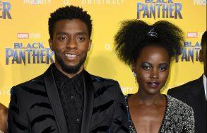 Letitia Wright, Chadwick Boseman, Lupita Nyong'o'Black Panther' film premiere, London, UK - 08 Feb 2018