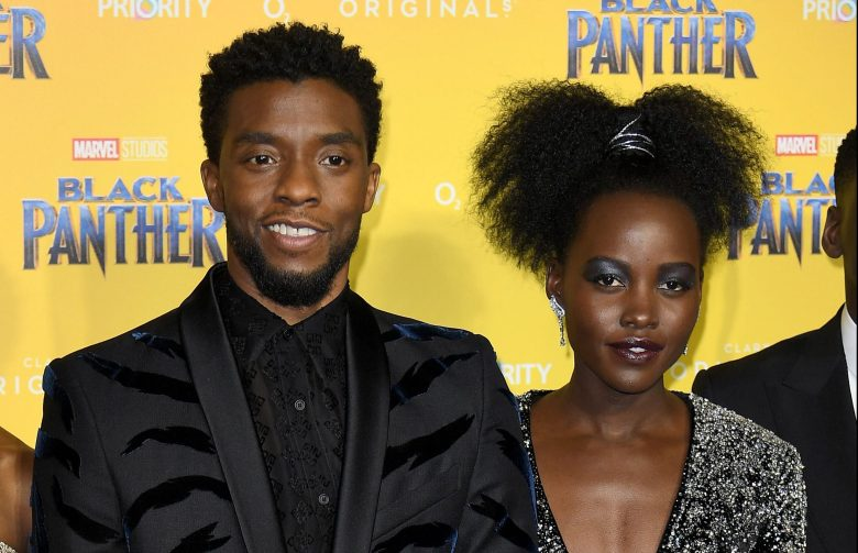Letitia Wright, Chadwick Boseman, Lupita Nyong'o'Black Panther' film premiere, London, UK - 08 Feb 2018