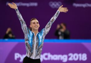 Adam Rippon of the US reacts after he competed in the Men Single Free Skating of the Figure Skating Team Event competition at the Gangneung Ice Arena during the PyeongChang 2018 Olympic Games, South Korea, 12 February 2018.Figure Skating - PyeongChang 2018 Olympic Games, Gangneung, Korea - 12 Feb 2018