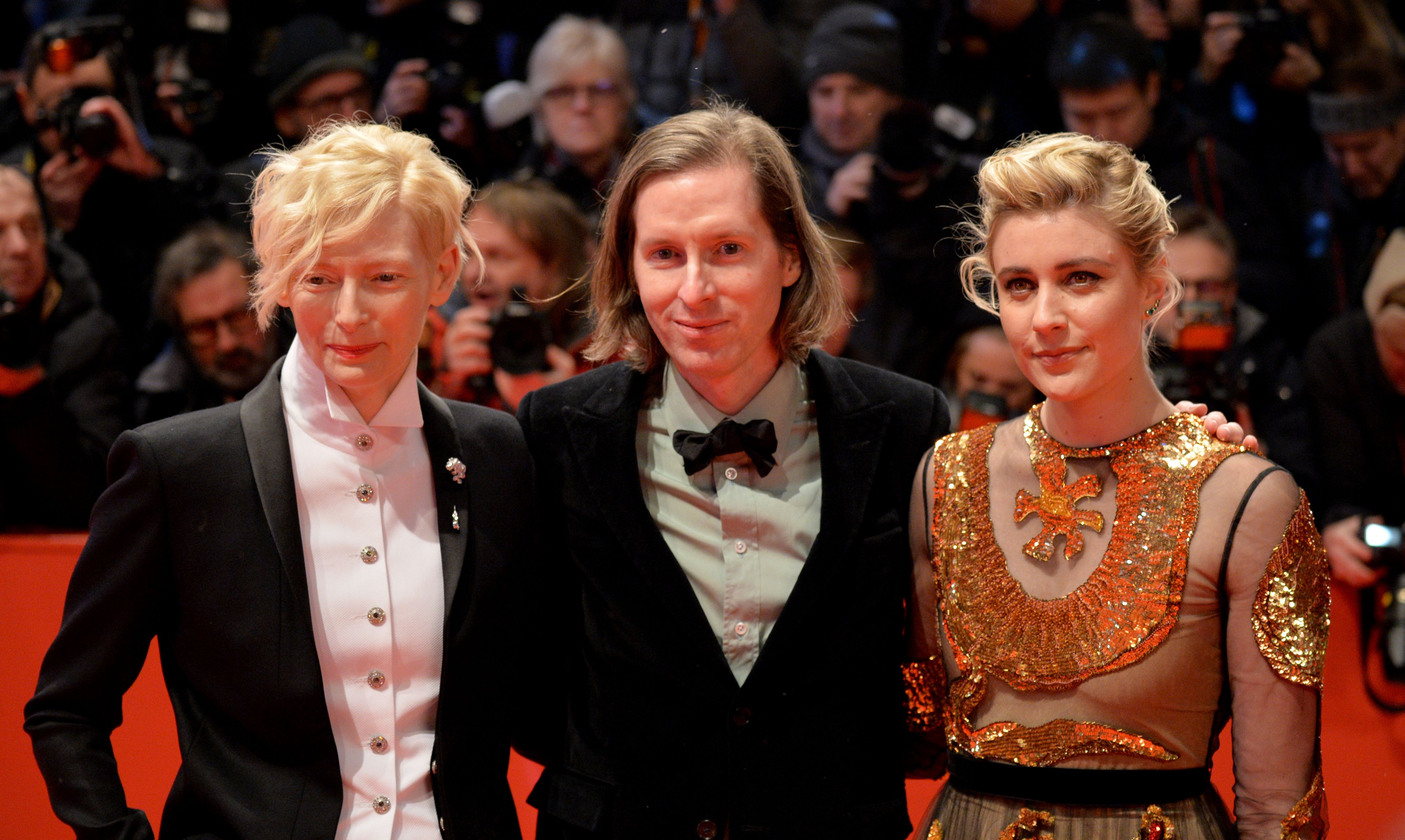 (L-R) Greta Gerwig, Wes Anderson and Tilda Swinton arrive at the red carpet for the opening ceremony of the 68th annual Berlin International Film Festival (Berlinale), in Berlin, Germany, 15 February 2018. The Berlinale runs from 15 to 25 February.Opening Ceremony - 68th Berlin Film Festival, Germany - 15 Feb 2018