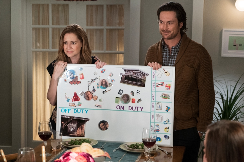 "SPLITTING UP TOGETHER - ""Pilot"" - Based on the Danish series, ""Splitting Up Together"" is the story of a couple whose marriage is reignited by their divorce. (ABC/Eric McCandless)JENNA FISCHER, OLIVER HUDSON"