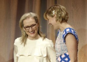 Meryl Streep, Greta Gerwig. Meryl Streep, left, and Greta Gerwig attend the 90th Academy Awards Nominees Luncheon at The Beverly Hilton hotel, in Beverly Hills, Calif90th Academy Awards Nominees Luncheon - Inside, Beverly Hills, USA - 05 Feb 2018