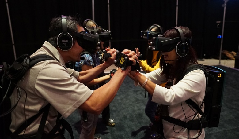 A still image from VR_I by Gilles Jobin, Caecilia Charbonnier and Sylvain Chagué, an official selection of the New Frontier Exhibitions program at the 2018 Sundance Film Festival. Courtesy of Sundance Institute | photo by Cie Gilles Jobin. All photos are copyrighted and may be used by press only for the purpose of news or editorial coverage of Sundance Institute programs. Photos must be accompanied by a credit to the photographer and/or 'Courtesy of Sundance Institute.' Unauthorized use, alteration, reproduction or sale of logos and/or photos is strictly prohibited.
