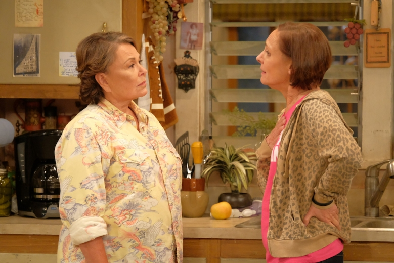 "ROSEANNE - ""Twenty Years to Life"" - Roseanne and Dan adjust to living under the same roof with Darlene and her two children, Harris and Mark, when Darlene loses her job. Meanwhile, Becky announces she is going to be a surrogate to make extra money; and Roseanne and Jackie are at odds with one another, on the season premiere and first episode of the revival of ""Roseanne,"" TUESDAY, MARCH 27 (8:00-8:30 p.m. EDT), on The ABC Television Network. (ABC/Adam Rose)ROSEANNE BARR, LAURIE METCALF"