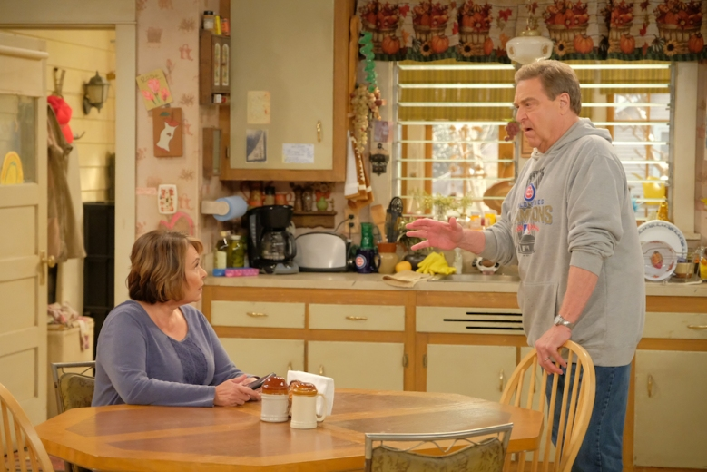 "ROSEANNE - ""Eggs Over, Not Easy"" - A crucial moment for Becky's surrogacy arrangement forces her and Darlene to critically assess each other's lives. Meanwhile, an animal rescue organization rejects Jackie's application to adopt a puppy; and Roseanne makes a plan to change their mind, on the fourth episode of the revival of ""Roseanne,"" TUESDAY, APRIL 10 (8:00-8:30 p.m. EDT), on The ABC Television Network. (ABC/Adam Rose)ROSEANNE BARR, JOHN GOODMAN"