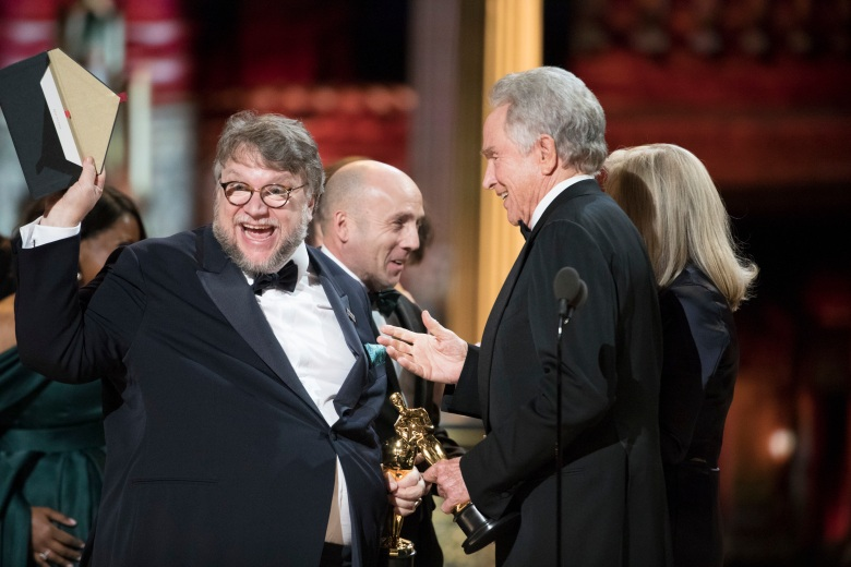 THE OSCARS(r) - The 90th Oscars(r) broadcasts live on Oscar(r) SUNDAY, MARCH 4, 2018, at the Dolby Theatre¨ at Hollywood & Highland Center¨ in Hollywood, on the ABC Television Network. (ABC/Craig Sjodin)GUILLERMO DEL TORO, J. MILES DALE, WARREN BEATTY
