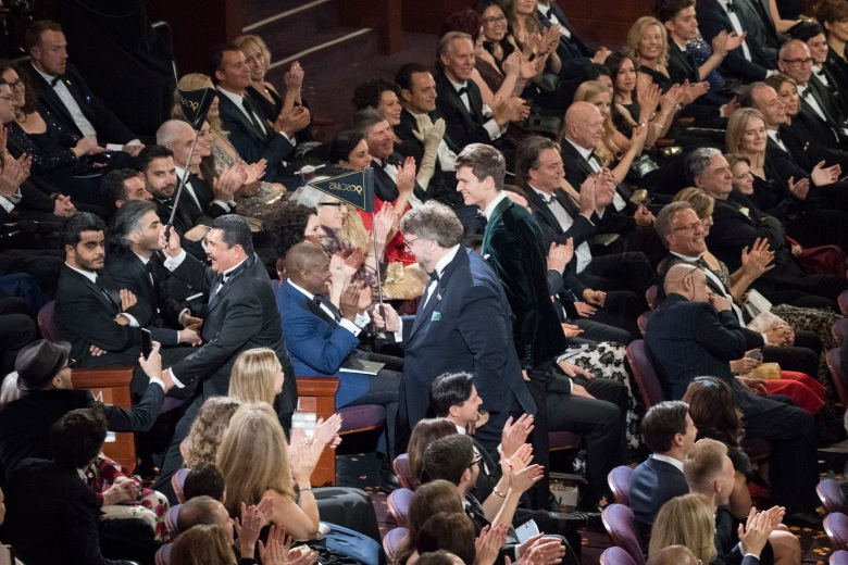 THE OSCARS(r) - The 90th Oscars(r) broadcasts live on Oscar(r) SUNDAY, MARCH 4, 2018, at the Dolby Theatre¨ at Hollywood & Highland Center¨ in Hollywood, on the ABC Television Network. (ABC/Ed Herrera)GUILLERMO RODRIGUEZ, GUILLERMO DEL TORO, ANSEL ELGORT