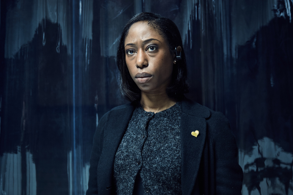 """HARD SUN -- """"One Thousand, Eight Hundred Days"""" - Episode 102 - Renko persuades a journalist to publish the Hard Sun dossier, instantly rendering her a target for Security Services agent, Grace. The government shuts down the story but the detectives investigate a killer for whom the 'Hard Sun hoax' is very real. Grace Morrigan (Nikki Amuka Bird) shown"""