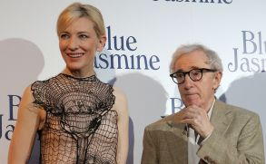 Director and actor Woody Allen, right, and Australian actress Cate Blanchett, pose as they arrive for the French premiere of Blue Jasmine, in ParisFrance Premiere Blue Jasmine, Paris, France