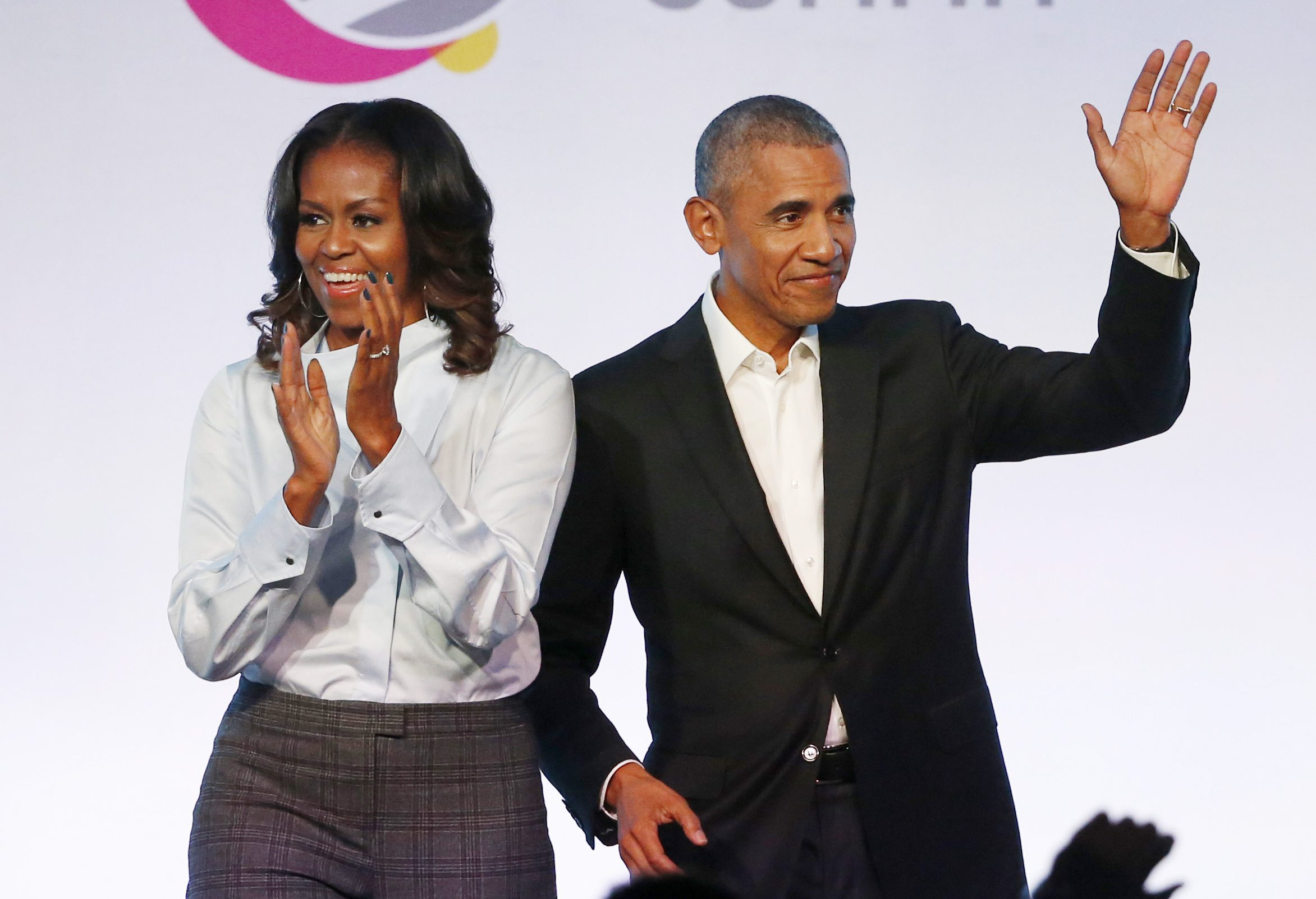 Barack Obama, Michelle Obama. Former President Barack Obama, right, and former first lady Michelle Obama arrive for the first session of the Obama Foundation Summit, in ChicagoObama Sumit, Chicago, USA - 31 Oct 2017