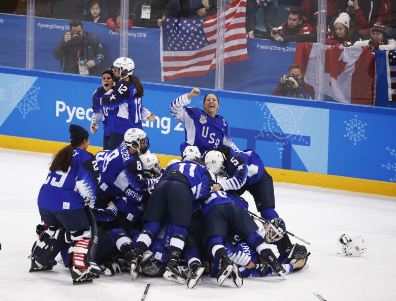United States celebrates winning the women's gold medal hockey game against Canada at the 2018 Winter Olympics in Gangneung, South KoreaPyeongchang Olympics Ice Hockey Women, Gangneung, South Korea - 22 Feb 2018