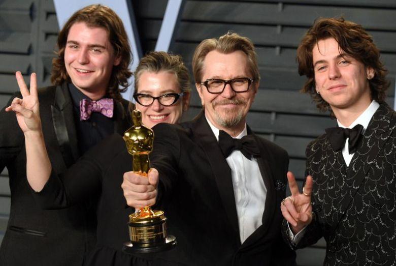 Gulliver Flynn Oldman, Gisele Schmidt, Gary Oldman and Charlie John OldmanVanity Fair Oscar Party, Arrivals, Los Angeles, USA - 04 Mar 2018