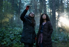 Director Ava DuVernay with Storm Reid on the set of Disney's A WRINKLE IN TIME.