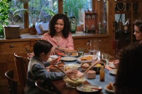 Gugu-Mbatha-Raw is Mrs. Murry, Deric McCage is Charles Wallace Murry and Levi Miller is Calvin O'Keefe in Disney's A WRINKLE IN TIME.