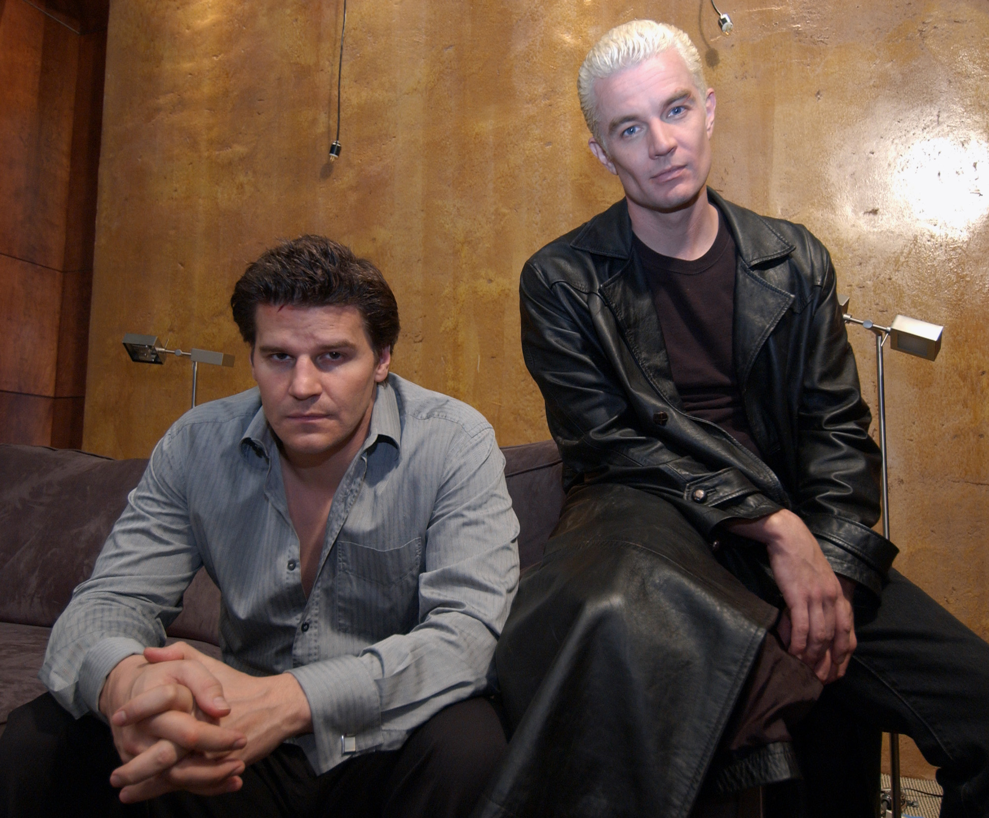 """BOREANAZ MARSTERS Actors David Boreanaz, left, and James Marsters who star in The WB's thriller series """"Angel,"""" pose for a photo on the set of the show, in Los Angeles. The program, recently renewed for a fifth season due to support from critics and outspoken cult-fans, chronicles the life of Angel, played by Boreanaz, a 250-year-old vampire trying to redeem his wickedness by helping people in demon infested Los Angeles. Marsters who appeared in """"Buffy the Vampire Slayer,"""" reprises his role as Spike on """"AngelTV REVAMPING ANGEL, LOS ANGELES, USA"""