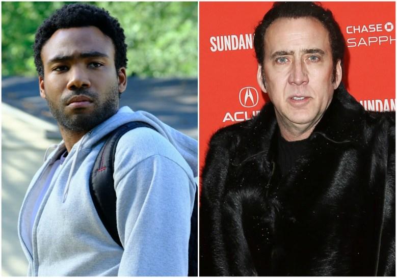 """Donald Glover in """"Atlanta""""; Nicolas Cage"""