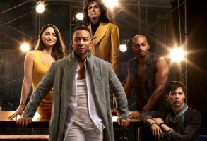 """Jesus Christ Superstar"": Sara Bareilles as Mary Magdalene, John Legend as Jesus Christ, Alice Cooper as King Herod, Brandon Victor Dixon as Judas Iscariot, Jason Tam as Peter"
