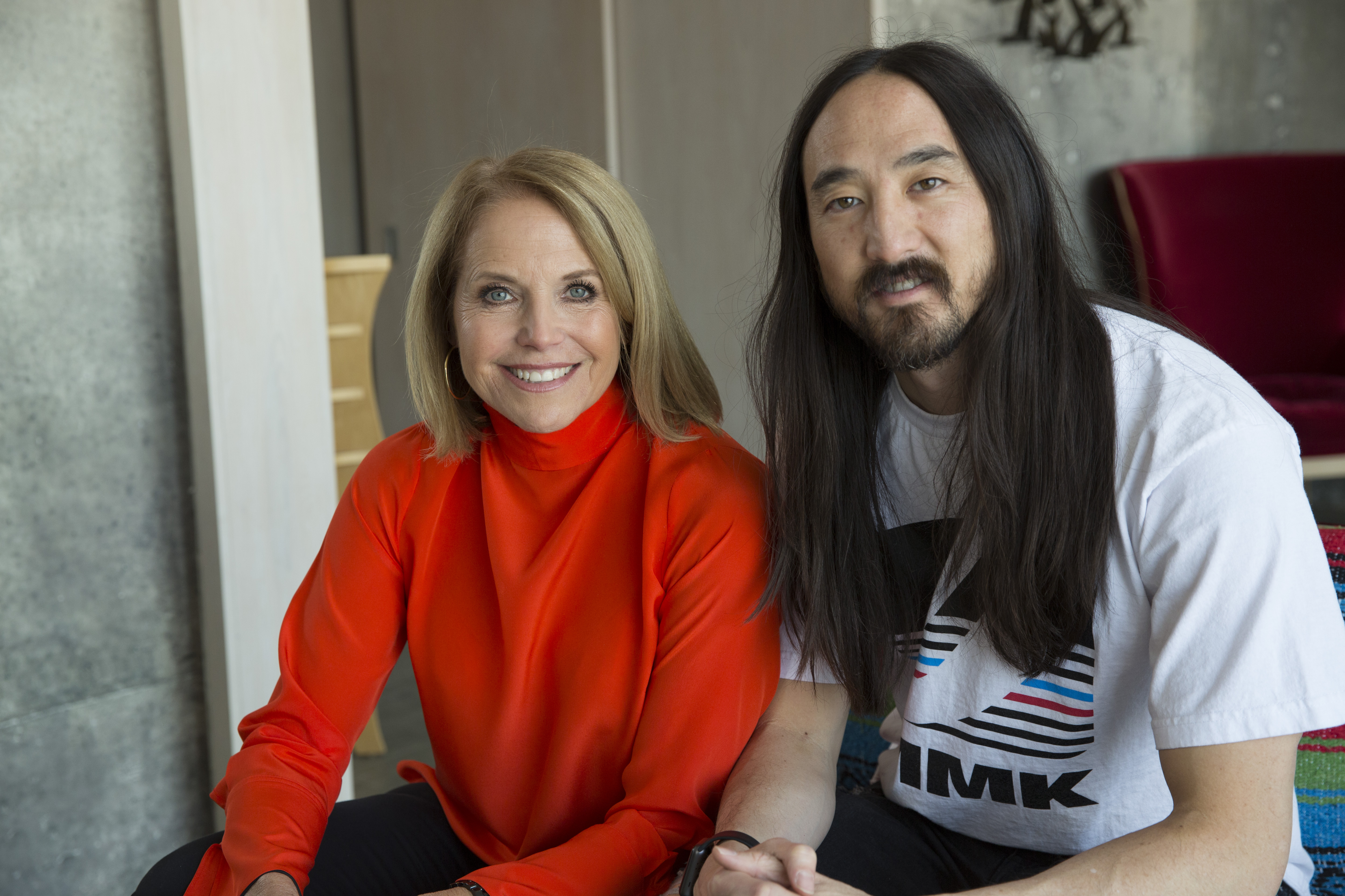 Los Angeles, CA - (L to R) Katie Couric and Steve Aoki. (National Geographic/Hussein Katz)