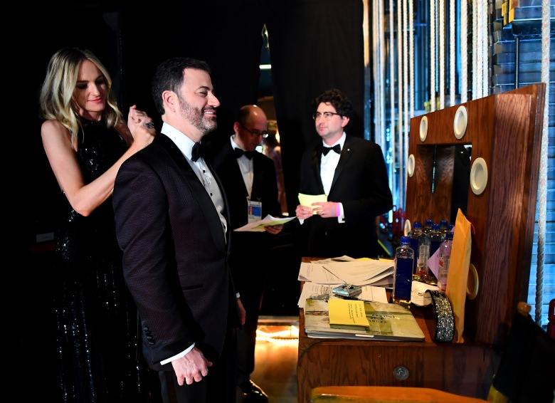 FOR EDITORIAL USE ONLY, NO MARKETING OR ADVERTISING IS PERMITTED WITHOUT THE PRIOR CONSENT OF A.M.P.A.S.Mandatory Credit: Photo by Matt Petit/A.M.P.A.S./REX/Shutterstock (9448690cu)Jimmy Kimmel90th Annual Academy Awards, Backstage, Los Angeles, USA - 04 Mar 2018