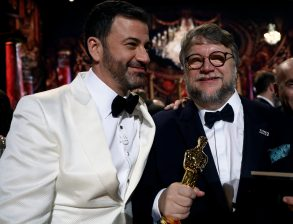 FOR EDITORIAL USE ONLY, NO MARKETING OR ADVERTISING IS PERMITTED WITHOUT THE PRIOR CONSENT OF A.M.P.A.S.Mandatory Credit: Photo by Matt Sayles/A.M.P.A.S./REX/Shutterstock (9448664cv)Jimmy Kimmel and Guillermo del Toro90th Annual Academy Awards, Backstage, Los Angeles, USA - 04 Mar 2018