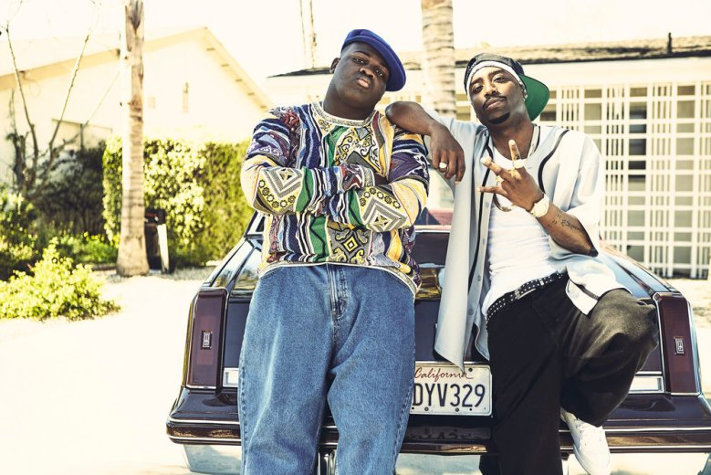 """UNSOLVED -- """"Pilot"""" -- Pictured: (l-r) Wavyy Jonez as Christopher """"Biggie"""" Wallace, Marcc Rose as Tupac Shakur -- (Photo by: James Minchin III/USA Network)"""
