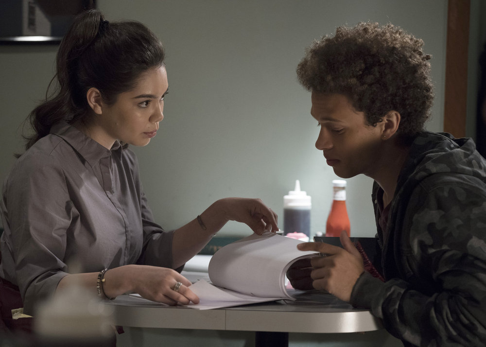 "RISE -- ""Most of All to Dream"" Episode 102 -- Pictured: (l-r) Auli'i Cravalho as Lilette Suarez, Damon J. Gillespie as Robbie Thorne -- (Photo by: Virginia Sherwood/NBC)"