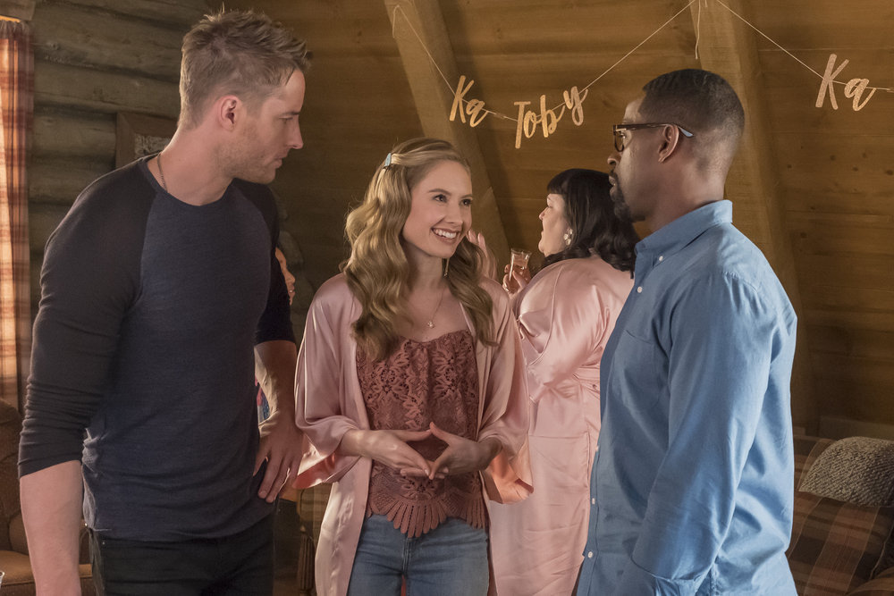 "THIS IS US -- ""The Wedding"" Episode 218 -- Pictured: (l-r) Justin Hartley as Kevin, Caitlin Thompson as Madison, Sterling K. Brown as Randall -- (Photo by: Ron Batzdorff/NBC)"