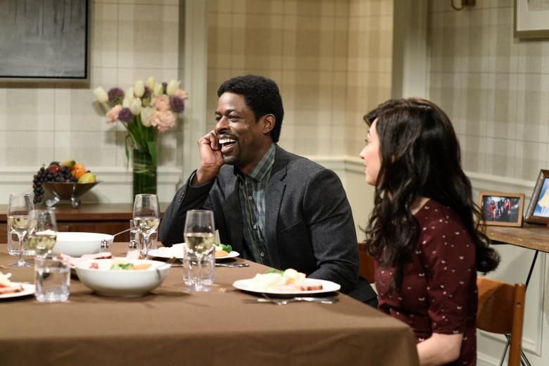 """SATURDAY NIGHT LIVE -- Episode 1740 """"Sterling K. Brown"""" -- Pictured: (l-r) Sterling K. Brown, Melissa Villaseñor during """"Family Dinner Shrek"""" in Studio 8H on Saturday, March 10, 2018 -- (Photo by: Will Heath/NBC)"""