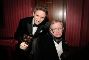 Eddie Redmayne, Leading Actor winner for The Theory of Everything, with Stephen HawkingEE BAFTA British Academy Film Awards, Royal Opera House, London, Britain - 08 Feb 2015