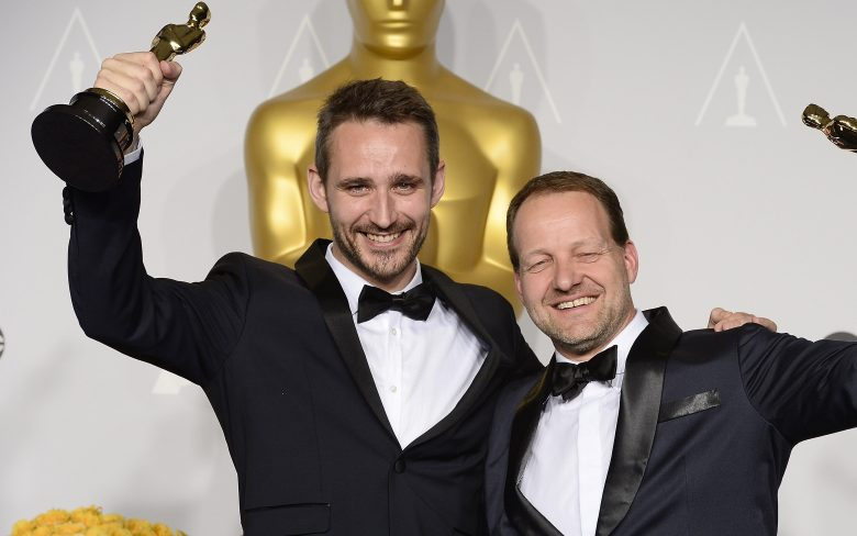 Filmmakers Anders Walter (l) and Kim Magnusson (r) Hold Their Oscars For Best Live Action Short Film For 'Helium' in the Press Room During the 86th Annual Academy Awards Ceremony at the Dolby Theatre in Hollywood California Usa 02 March 2014 the Oscars Are Presented For Outstanding Individual Or Collective Efforts in Up to 24 Categories in Filmmaking United States HollywoodUsa Academy Awards 2014 - Mar 2014