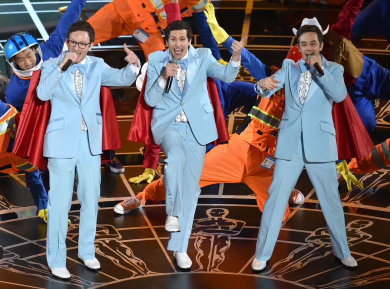 Akiva Schaffer, from left, Andy Samberg and Jorma Taccone of The Lonely Island perform at the Oscars, at the Dolby Theatre in Los AngelesAPTOPIX 87th Academy Awards - Show, Los Angeles, USA - 22 Feb 2015