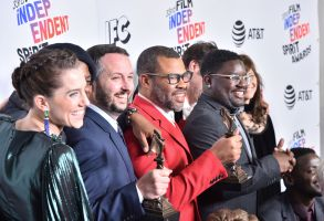 Allison Williams, Sean McKittrick, Jordan Peele and Lil Rel Howery, 'Get Out' - Best Feature33rd Film Independent Spirit Awards, Press Room, Los Angeles, USA - 03 Mar 2018