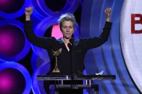 "Frances McDormand accepts the award for best female lead for ""Three Billboards Outside Ebbing, Missouri"" at the 33rd Film Independent Spirit Awards, in Santa Monica, Calif2018 Film Independent Spirit Awards - Show, Santa Monica, USA - 03 Mar 2018"