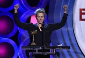 """Frances McDormand accepts the award for best female lead for """"Three Billboards Outside Ebbing, Missouri"""" at the 33rd Film Independent Spirit Awards, in Santa Monica, Calif2018 Film Independent Spirit Awards - Show, Santa Monica, USA - 03 Mar 2018"""
