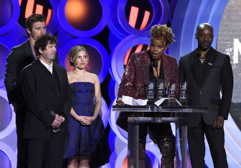 "Dee Rees, Garrett Hedlund, Billy Hopkins, Ashley Ingram, Rob Morgan. Dee Rees, second from right, accepts the Robert Altman award for ""Mudbound"" at the 33rd Film Independent Spirit Awards, in Santa Monica, Calif. Looking on from far left are Garrett Hedlund, Billy Hopkins, Ashley Ingram and Rob Morgan2018 Film Independent Spirit Awards - Show, Santa Monica, USA - 03 Mar 2018"