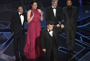 "Sebastian Lelio, Nicolas Saavedra, Daniela Vega, Alejandro Goic, Pablo Larrain. Sebastian Lelio, foreground center, and Nicolas Saavedra, from back left, Daniela Vega, Alejandro Goic, and Pablo Larrain accept the award for best foreign language film for ""A Fantastic Woman"" at the Oscars, at the Dolby Theatre in Los Angeles90th Academy Awards - Show, Los Angeles, USA - 04 Mar 2018"