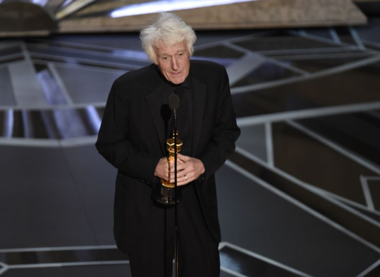 """Roger Deakins accepts the award for best cinematography for """"Blade Runner"""" at the Oscars, at the Dolby Theatre in Los Angeles90th Academy Awards - Show, Los Angeles, USA - 04 Mar 2018"""