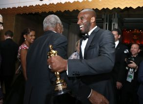 """Kobe Bryant, Danny Glover. Kobe Bryant, winner of the award for best animated short for """"Dear Basketball"""", right, and Danny Glover attend the Governors Ball after the Oscars, at the Dolby Theatre in Los Angeles90th Academy Awards - Governors Ball, Los Angeles, USA - 04 Mar 2018"""