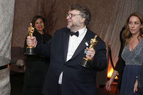 "Guillermo del Toro poses with his awards for best director and best picture for ""The Shape of Water"" at the Governors Ball after the Oscars, at the Dolby Theatre in Los Angeles90th Academy Awards - Governors Ball, Los Angeles, USA - 04 Mar 2018"