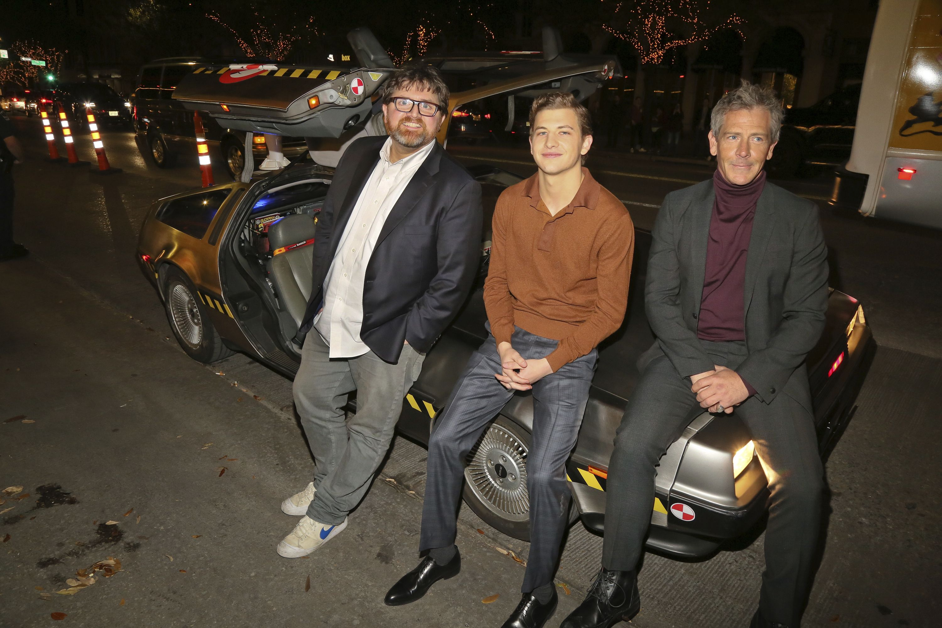 "Ernie Cline, Tye Sheridan, Ben Mendelsohn. Ernie Cline, Tye Sheridan and Ben Mendelsohn, from left, sit on a DeLorean after arriving for the world premiere of ""Ready Player One"" during the South by Southwest Film Festival at the Paramount Theatre, in Austin, Texas2018 SXSW - ""Sorry To Bother You"", Austin, USA - 11 Mar 2018"