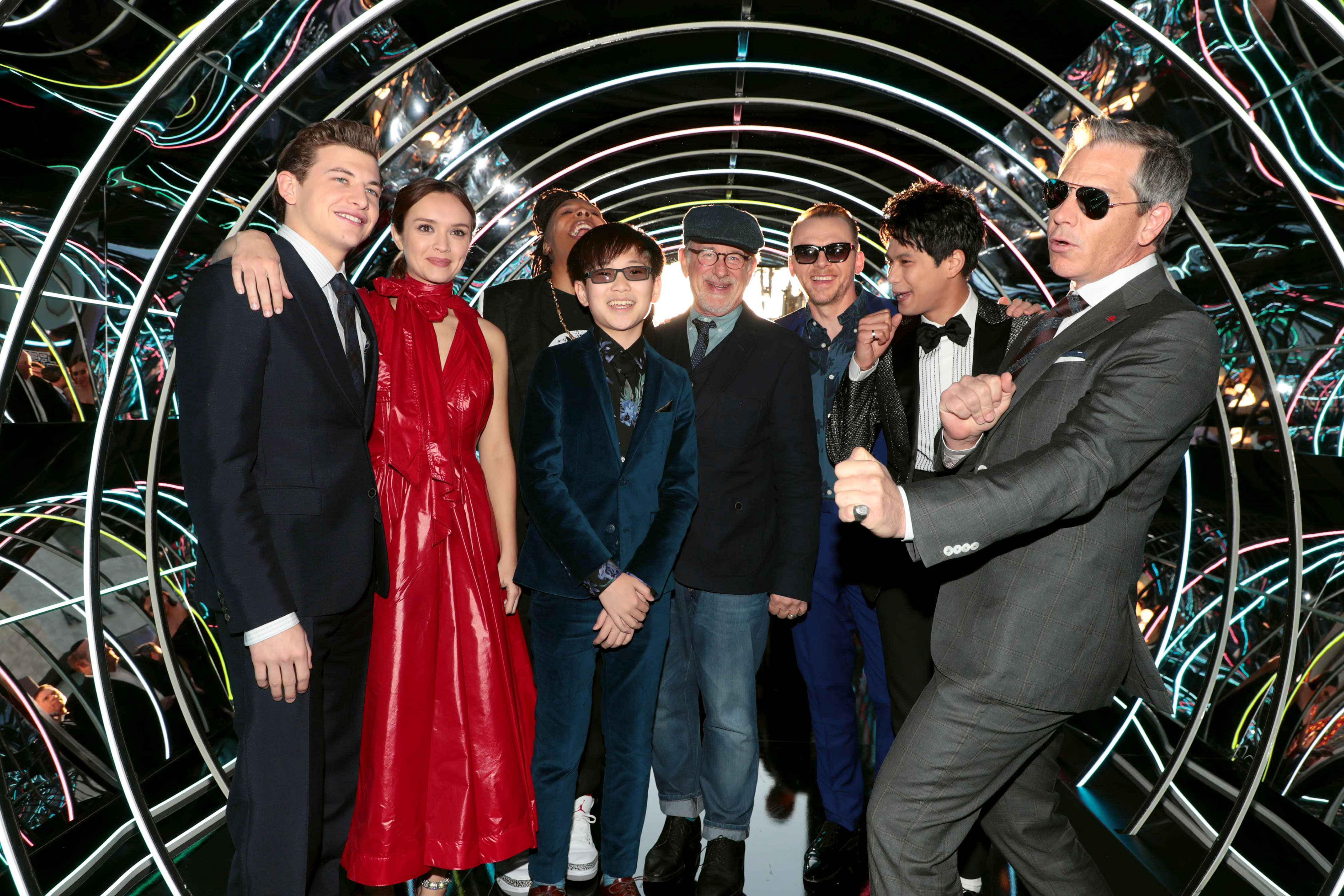 Tye Sheridan, Olivia Cooke, Lena Waithe, Philip Zhao, Steven Spielberg, Director, Simon Pegg, Win Morisaki, Ben Mendelsohn Warner Bros. Pictures World Premiere of 'Ready Player One' at The Dolby Theatre, Los Angeles, CA, USA - 26 March 2018