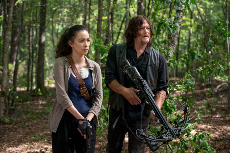 Christian Serratos as Rosita Espinosa, Norman Reedus as Daryl Dixon; group - The Walking Dead _ Season 8, Episode 11 - Photo Credit: Gene Page/AMC