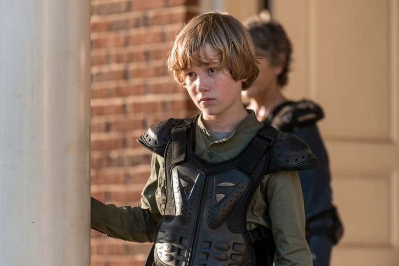 Macsen Lintz as Henry, Melissa McBride as Carol Peletier - The Walking Dead _ Season 8, Episode 13 - Photo Credit: Gene Page/AMC