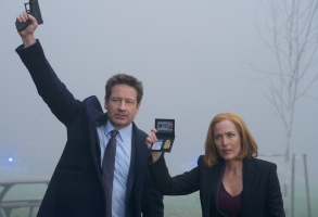"THE X-FILES:  L-R:  David Duchovny and Gillian Anderson in the ""Familiar"" episode of THE X-FILES airing Wednesday, March 7 (8:00-9:00 PM ET/PT) on FOX. ©2018 Fox Broadcasting Co.  Cr:  Shane Harvey/FOX"