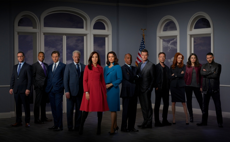 "SCANDAL - ABC's ""Scandal"" stars Joshua Malina as David Rosen, Cornelius Smith Jr as Marcus Walker, Tony Goldwyn as Fitzgerald Grant, Jeff Perry as Cyrus Beene, Kerry Washington as Olivia Pope, Bellamy Young as President Mellie Grant, Joe Morton as Rowan Pope, Scott Foley as Jake Ballard, George Newbern as Charlie, Darby Stanchfield as Abby Whelan, Katie Lowes as Quinn Perkins and Guillermo Diaz as Huck. (ABC/Bob D'Amico)"
