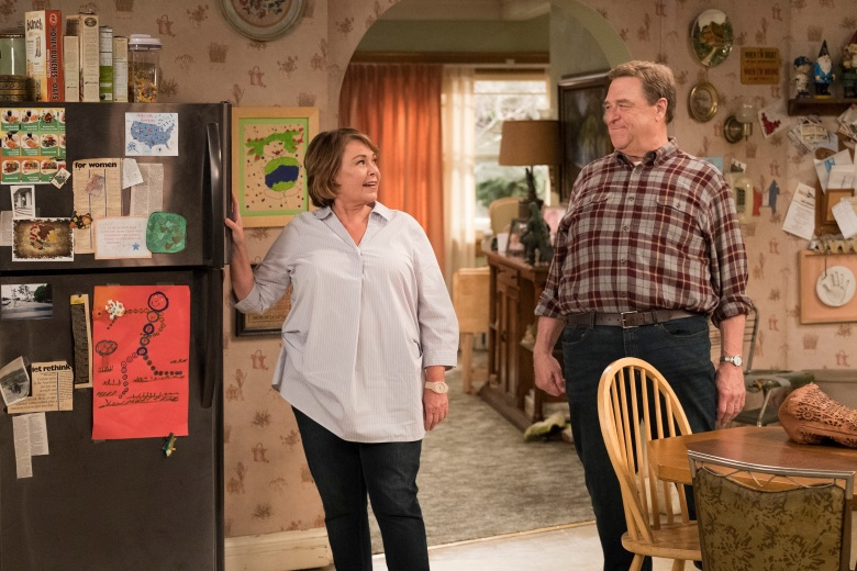 "ROSEANNE - ""Roseanne Gets the Chair"" - Roseanne's clash with Darlene over how she's raising her kids - especially Harris - reaches a breaking point; while Dan tries to help Roseanne with her bad knee by getting her an elevator chair, which she refuses to use because she doesn't want to admit getting old, on the second episode of the revival of ""Roseanne,"" TUESDAY, APRIL 3 (8:00-8:30 p.m. EDT), on The ABC Television Network. (ABC/Adam Rose)ROSEANNE BARR, JOHN GOODMAN"