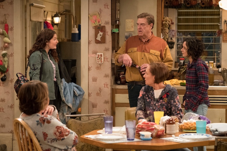 "ROSEANNE - ""Roseanne Gets the Chair"" - Roseanne's clash with Darlene over how she's raising her kids - especially Harris - reaches a breaking point; while Dan tries to help Roseanne with her bad knee by getting her an elevator chair, which she refuses to use because she doesn't want to admit getting old, on the second episode of the revival of ""Roseanne,"" TUESDAY, APRIL 3 (8:00-8:30 p.m. EDT), on The ABC Television Network. (ABC/Adam Rose)ROSEANNE BARR, EMMA KENNEY, JOHN GOODMAN, LAURIE METCALF, SARA GILBERT"