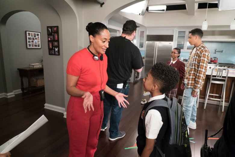 "BLACK-ISH - ""Fifty-Three Percent"" - Dre and Bow have been fighting more than usual, and they decide to go back to their therapist who suggests they make time for a date night. Meanwhile, after Devante's first birthday party, the bouncy house gets left behind, and Jack and Diane take advantage of it in different ways, on ""black-ish,"" TUESDAY, APRIL 17 (9:00-9:30 p.m. EDT), on The ABC Television Network. (ABC/Eric McCandless)TRACEE ELLIS ROSS (DIRECTOR), MILES BROWN, MARSAI MARTIN, MARCUS SCRIBNER"