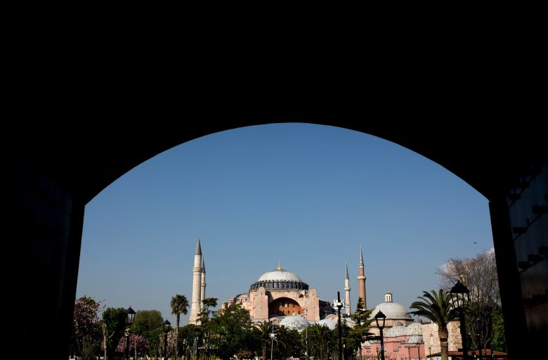 Hagia Sophia seen in picture on a sunny day in Istanbul, Turkey, 24 April 2018. The Hagia Sophia, a former Greek Orthodox Christian patriarchal church was later an Ottoman imperial mosque and now houses a museum (Ayasofya Muzesi) in Istanbul.Daily life in istanbul, Turkey - 24 Apr 2018